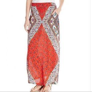 ANGIE boho printed pocket maxi skirt